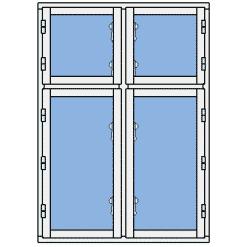 Sekel - sidohängt utåtgående 4-luft flaggfönster