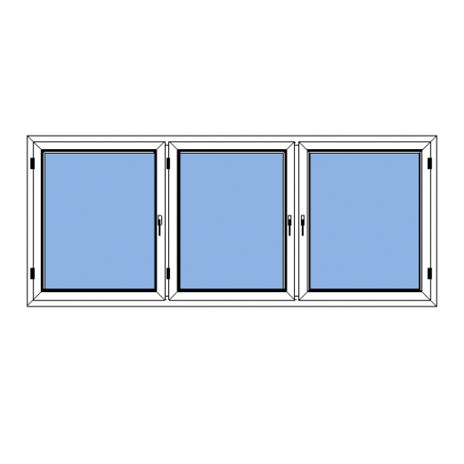 Sidohängt inåtgående 3-luftsfönster - Polaris