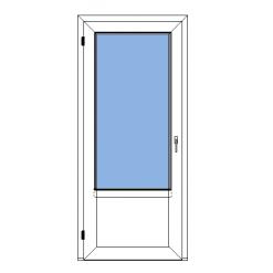 Utåtgående fönsterdörr med bröstning