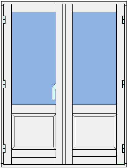 Sekel - utåtgående parfönsterdörr med bröstning